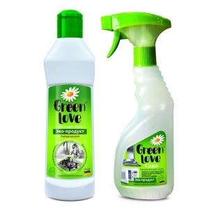 """Средство чистящее универсальное """"Green Love"""" экологичное с содой 500мл, спрей + Средство чистящее универсальное """"Green Love"""" экологичное 330г, крем"""