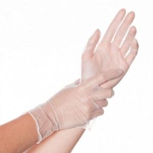 Перчатки виниловые одноразовые прозрачные