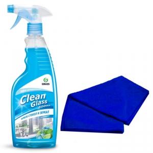 """Средство для мытья окон и стекол """"CLEAN GLASS голубая лагуна"""" 600 мл + Салфетка"""